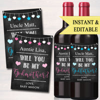 EDITABLE Godparents Ask Wine Labels, Christmas Printable Wine Label Gift, Godmother Proposal Will You Be My Godfather diy, INSTANT DOWNLOAD