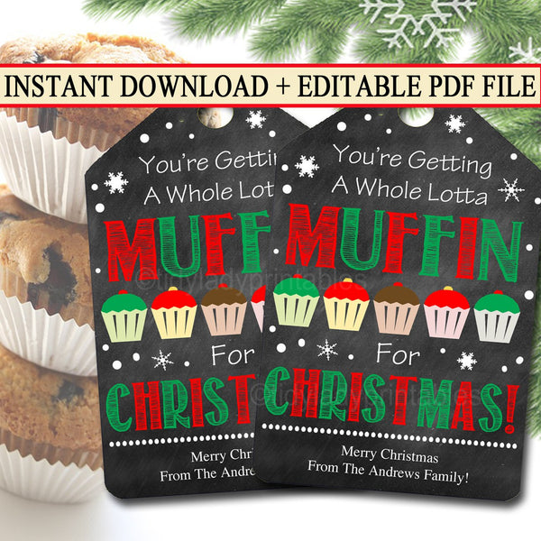 EDITABLE Holiday Muffin Gift Tags, Funny Christmas Labels, Gag Gift White Elephant Printable, Hostess Neighbor Gift, Xmas INSTANT DOWNLOAD