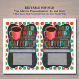 EDITABLE Christmas Thanks a Latte Coffee Gift Card Holder Printable Teacher Babysitter Gift Daycare, Our Child Reason Drink INSTANT DOWNLOAD