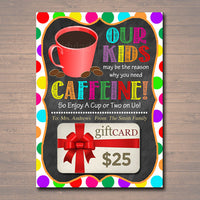 graphic about Thanks a Latte Printable referred to as EDITABLE Espresso Present Card Holder Printable Instructor Babysitter Present Daycare, Xmas Because of a Latte Our Baby Purpose Consume Instantaneous Obtain