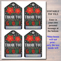 EDITABLE Christmas Gift Tags, Thank You For Helping Me Grow Flower Holiday Teacher Gift Nanny Daycare Babysitter Gift, Xmas INSTANT DOWNLOAD