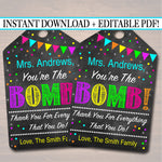 EDITABLE You're The Bomb Gift Tags, Teacher Volunteer Staff Appreciation, Nanny Babysitter Daycare Printable Bath Soap Card INSTANT DOWNLOAD