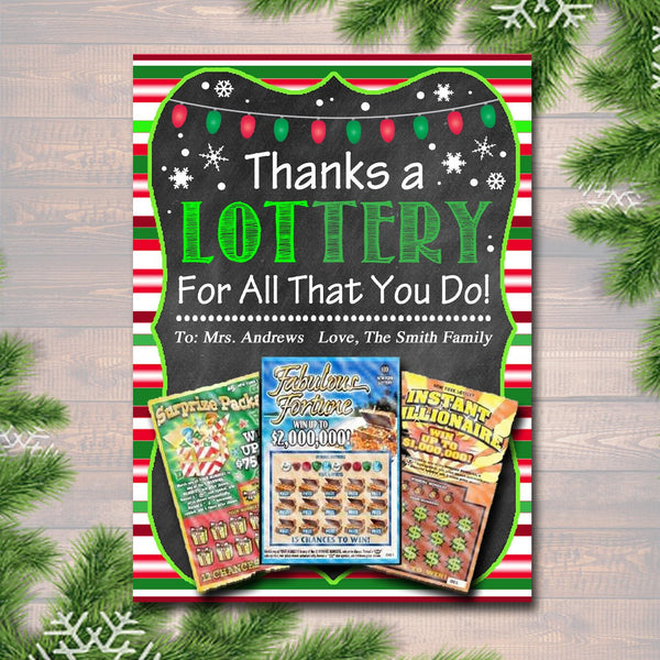 EDITABLE Christmas Thank You a Lottery Gift Card Holder, Printable Teacher Gift, Xmas Coach Gift INSTANT DOWNLOAD Nanny Babysitter Gift Card