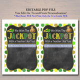 EDITABLE Thank You a Lottery Gift Card Holder, Printable Teacher Appreciation, INSTANT DOWNLOAD Xmas Gift, Won The Jackpot Teacher Like You!