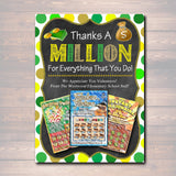 EDITABLE Thank You Lottery Ticket Holder, Printable Teacher Appreciation, Xmas Coach Gift, INSTANT DOWNLOAD Thanks a Million Volunteer Staff