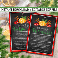 EDITABLE Stove Top Potpourri Christmas Gift Tags, Secret Santa, Office Staff Teacher Gift Holiday Printable, White Elephant INSTANT DOWNLOAD