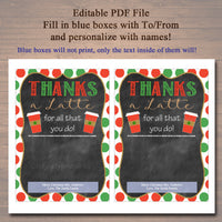 EDITABLE Coffee Card Holder, Thanks a Latte Holiday Gift Card Holder, Printable Stocking Stuffer, Holiday Teacher Gifts, INSTANT DOWNLOAD