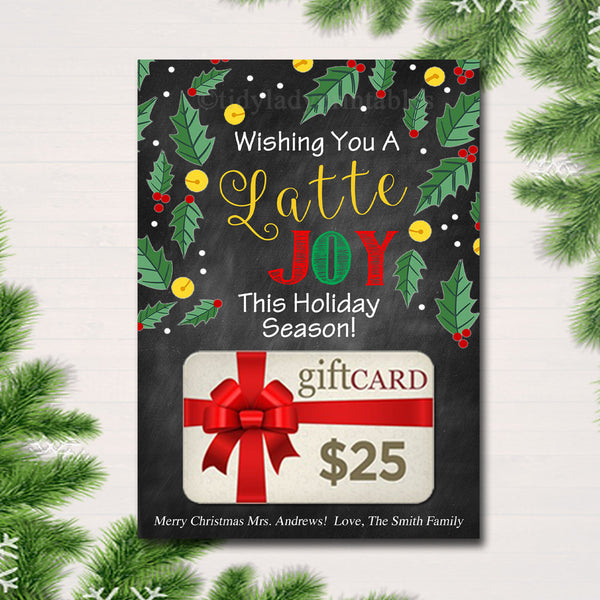EDITABLE Coffee Card Holder, Wishing You a Latte Joy Holiday Gift Card Holder, Printable Stocking Stuffer, Teacher Gifts, INSTANT DOWNLOAD