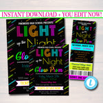 Prom Ticket/Invite Flyer Set School Dance  Invite, Neon Glow in The Dark, High School Dance Event, pto, pta