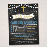 EDITABLE Boy Baptism Invitation, Christening Religious Invite, Diy Christian Invitation, Baby Boy Baptism Party Decoration, INSTANT DOWNLOAD