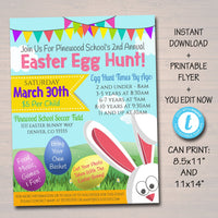 EDITABLE Easter Egg Hunt Flyer, Printable Invite Easter Party Invitation, pto pta Church Community Kids Easter Bunny Event, INSTANT DOWNLOAD