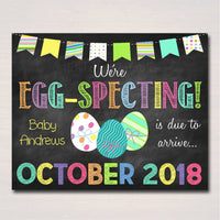 EDITABLE Chalkboard Pregnancy Announcement We're Eggspecing Chalkboard Poster Spring Pregancy Reveal Easter Photo Sign Prop INSTANT DOWNLOAD