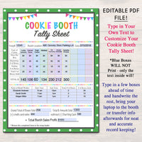 EDITABLE Cookie Booth Tally Sheet,  INSTANT DOWNLOAD, Troop Leader Printable, Cookies Sales Tracker, Cookie Booth Organizer