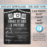 EDITABLE Photo Guestbook Sign, Printable Sign, Shake it like a polaroid picture, INSTANT DOWNLOAD, Graduation Wedding Party, Photobooth Sign