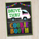 Printable Outdoor Cookie Booth Sign Set, Drive Up Cookie Booth Donate Cookies, Stop Cookies Here Digital Cookie Drop Banner INSTANT DOWNLOAD