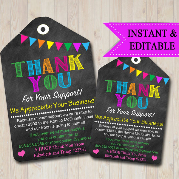 EDITABLE Thank You Tags, Scout Cookie Thank You Note, Booth Sales INSTANT DOWNLOAD Printable Chalkboard Tags, Fundraiser Thank You Cards