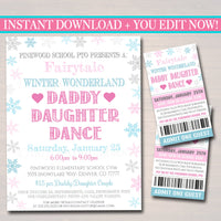 Daddy Daughter Dance Set School Dance Flyer Party Invite, Winter Wonderland Event Valentines Day Dance, pto pta,