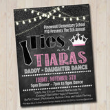 EDITABLE Daddy Daughter Dance Set School Dance Flyer Party Invitation Ties & Tiaras Event Church Community Event, pto, pta, INSTANT DOWNLOAD