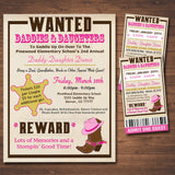 Daddy Daughter Dance Set School Dance Flyer Invitation, Country Western Cowgirl, Church Community Event, pto, pta