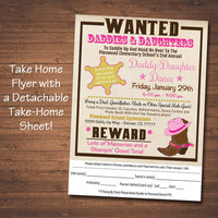 EDITABLE Daddy Daughter Dance Set School Dance Flyer Invitation, Country Western Cowgirl, Church Community Event, pto, pta INSTANT DOWNLOAD