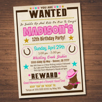 EDITABLE Cowgirl Birthday Invitation, Western Theme Party Invite, Horse Stable Digital Invite, Wanted Poster, Riding Party INSTANT DOWNLOAD