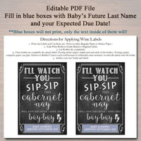 I'll Watch You Sip Sip This Cabernet-nay,  Printable Wine Label Pregnancy Announcement, Sister or Friends to Aunt, Funny Pregnancy Reveal