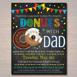 EDITABLE Donuts With Dad Set Thank You Tags, Printable PTA Flyer, Father's Day Event, School Dad Appreciation Fundraiser Digital Invitation