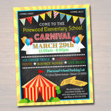 EDITABLE Carnival Flyer, Printable PTA PTO Flyer, School Church Benefit Fundraiser Event Poster, Digital Circus Party Printable Invitation