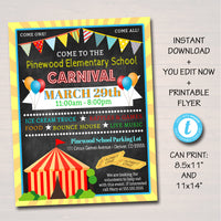 Carnival Flyer, Printable PTA PTO Flyer, School Church Benefit Fundraiser Event Poster,  Circus Party Printable Invitation