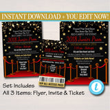 Prom Set, School Dance Flyer Invitation, Ticket Hollywood Red Carpet Under The Stars High School Event, pto, pta