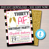 Any Age Birthday Invite, 40th Birthday, 30th Bday, Girl's Brunch, Watercolor Floral, Gold Glitter Stripes,