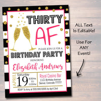 EDITABLE Any Age Birthday Invite, 40th Birthday, 30th Bday, Girl's Brunch, Watercolor Floral, Gold Glitter Stripes, INSTANT DOWNLOAD