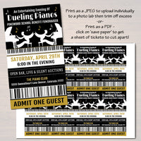 Dueling Pianos Benefit Fundraiser Invitation/Flyer/Ticket Template Set