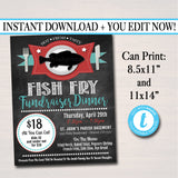 Fish Fry Flyer, Printable PTA PTO Flyer, Benefit Fundraiser Event Poster, Church Benefit, Lent Friday Fish Fry Printable Invitation