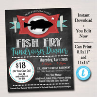 Fish Fry Flyer - Printable PTA PTO Flyer - Lent Friday Fish Fry - DIY Editable Template