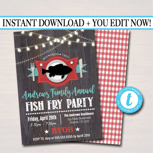 Fish Fry Party Invite, Family Picnic, Lent Church Event, Printable Invitation Company Flyer, Southern BBQ Party, Fundraising Event