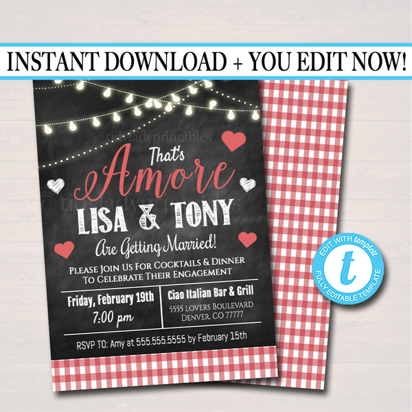 That's Amore Invitation, Wedding Rehearsal Engagement Announcement  Invite, Italian Dinner Party Valentine's Party Printable