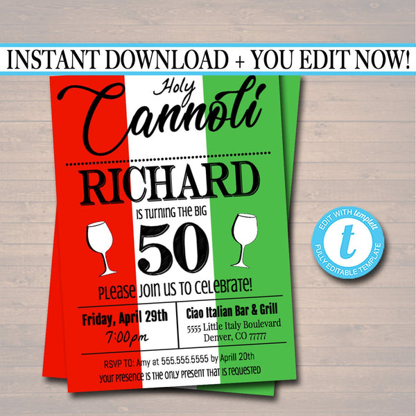 Italian Party Invitation Holy Connoli Birthday Invite, Retirement Invitation Italian Dinner Party, Adult Birthday Any Age Printable