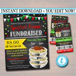 Spaghetti Dinner Fundraiser Flyer Ticket Set, pto pta, Church Community School Benefit Event, Italian Pasta Dinner