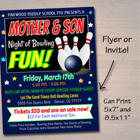 EDITABLE Mother Son Bowling Flyer Ticket Set School Dance Party Invitation, Family Night, Church Community Event, pto, pta, INSTANT DOWNLOAD