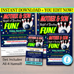 Mother Son Bowling Night Flyer Ticket Set - Editable Template