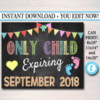 Custom Sibling Pregnancy Announcement, Printable Chalkboard Poster, Sibling Pregancy Reveal, Sibling Photo Prop, Only Child Expiring Sign