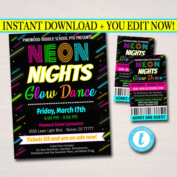 EDITABLE Glow Dance Set School Dance Flyer Party Invite, Church Community Event, Neon Nights High School Dance, pto pta, INSTANT DOWNLOAD