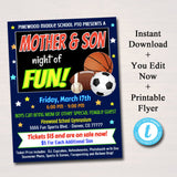 Mother Son School Dance Set - Sports Theme Invite - DIY Editable Template