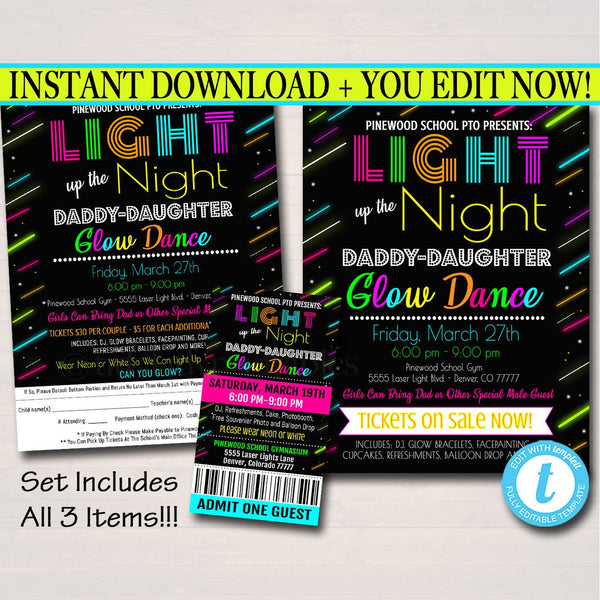 Glow Dance Set, Printable School Dance Flyer Party Invite, Church Community Event, Daddy Daughter Dance, pto pta,