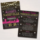 EDITABLE Nashville Tennessee Bachelorette Party Invitation, Nash Bash Party Invite, City Skyline Country Weekend Itinerary INSTANT DOWNLOAD