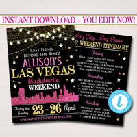 EDITABLE Las Vegas City Bachelorette Party Invitation, Glitter Pink Gold Party Invite City Skyline, Girls Weekend Itinerary INSTANT DOWNLOAD