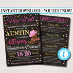 EDITABLE Austin Texas Bachelorette Party Invitation, Dallas, Country Party Invite, Cowgirl Boots Country Weekend Itinerary INSTANT DOWNLOAD