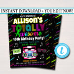 EDITABLE 80's Birthday Invitation, Neon Glow Birthday Digital, Retro 1980's Theme Invite, I love The 80's Totally Rad Party INSTANT DOWNLOAD