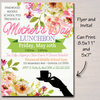 EDITABLE Mother's Day Luncheon School Flyer Party Invite, Church Community Event, Mom Appreciation Event Invitation pto pta INSTANT DOWNLOAD